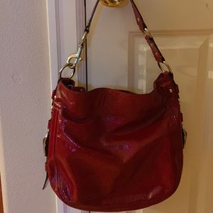 Coach Zoe large handbag purse patent red (silver)